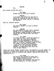 """Una página del guión de los """"Basterds"""" de Tarantino."""