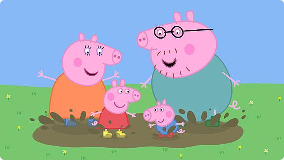 Peppa Pig y su familia. No son guionistas, pero la imagen es una buena