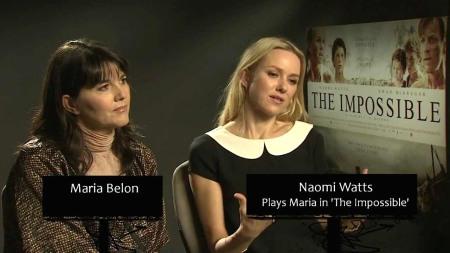 María y Naomi, realidad y ficcion, de la mano en la promoción de Lo Imposible.