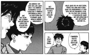 """Viñetas de """"Opus"""", el manga inacabado de Satoshi Kon. El autor habla con su personaje y explica muy bien cómo funciona el proceso creativo (comentario sobre el editor incluido). Importante: los globos se leen de izquierda a derecha. Es un manga editado en orden de lectura japonesa."""